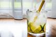 Caipirinha Cocktail with lime and ice.