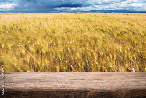 Fotobehang Zwavel geel Wheat in countryside, wooden empty product montage display template