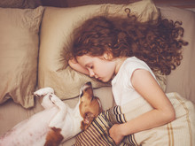 Sweet Baby And Puppy Is Sleepi...
