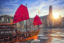 3D Illustration Of Vintage Ship Sailing To Hong Kong Harbor