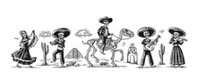 Day Of The Dead, Dia De Los Muertos. The Skeleton In The Mexican National Costumes Dance, Sing And Play The Guitar.