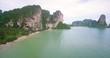 Tonsai and Railay Beaches Backed By Limestone Cliffs, Krabi, Thailand, Descending Aerial Shot