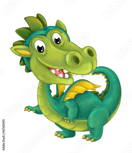 Foto auf AluDibond Drachen cartoon happy and funny dragon isolated - illustration for children