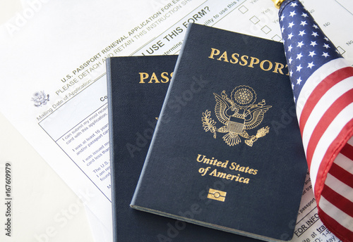 Immigration concept (Passport renewal form, passports and flag) Canvas-taulu