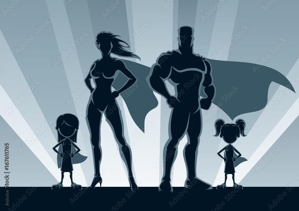 Photo Art Print Superhero Family 2 Girls Posing In Front Of Lights