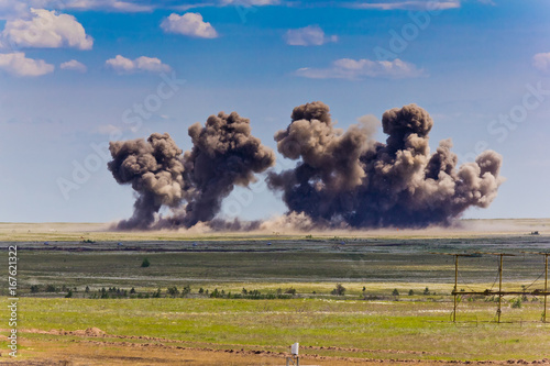 Canvas Print Explosion at a military training ground