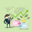 Business man find to investment, financial savingslong-term deposit investment . illustration concept.with word LTF , RMF.