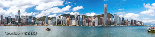 Foto op Plexiglas Hong-Kong 九龍半島から望む香港の景色 パノラマ