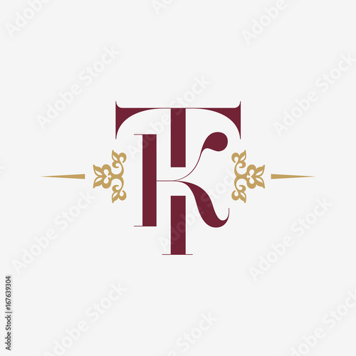 Logo Monogram With Letter T And K In Vintage Style Ornament Initial