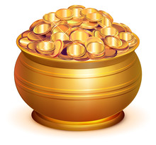 Gold Pot Full Of Gold Coins