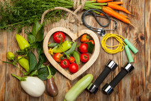 Sport And Diet. Fresh Vegetables. Healthy Lifestyle. Rustic Wooden Background.