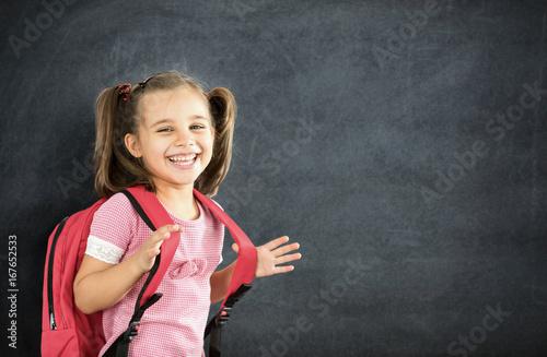 Plakat Back To School Concept, Happy Smiling Schoolgirl Studying