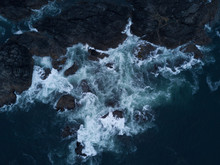 Aerial Shot Of Waves Hitting R...