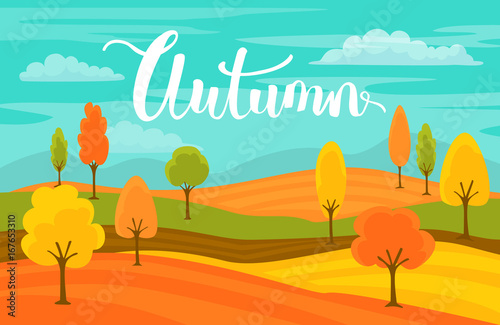 Tuinposter Groene koraal autumn fall cartoon landscape background with handwritten text