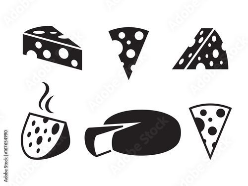 Fototapeta Vector black cheeses icon on white background obraz