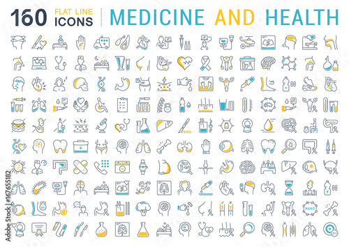 Fotografia  Set Vector Flat Line Icons Medecine and Health