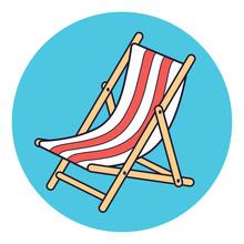 Beach Deck Chair Vector Icon.