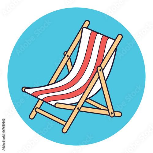 Fotografia Beach deck chair vector icon.