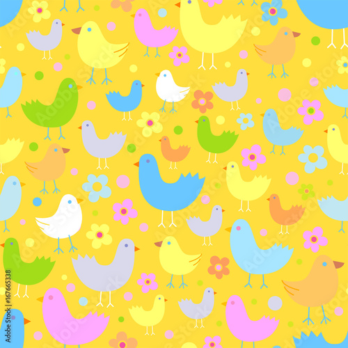 obraz dibond Seamless pattern with cute funny cartoon birds.