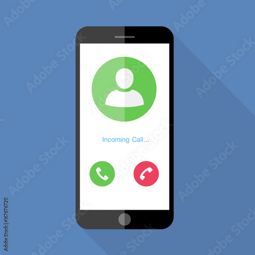 Fototapeta Flat design the smartphone with incoming call on screen, vector design element illustrator obraz