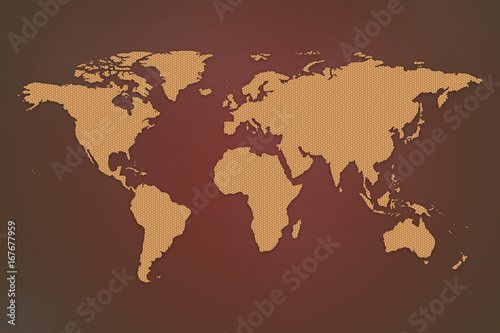 2d World Map With Hexagon Design On Red Gradient Background Buy