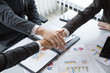 Top view 3 business Join Hands Support Together Concept