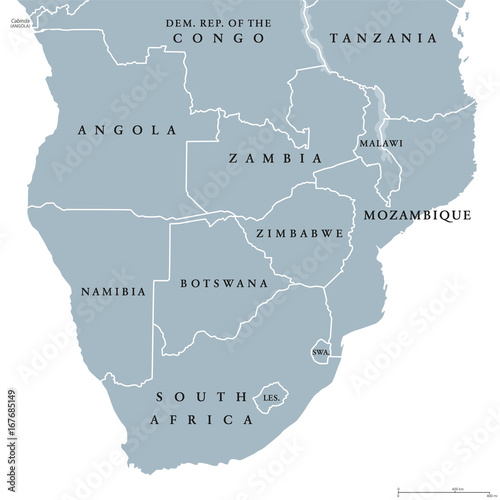 Southern Africa political map with borders of the countries and ...