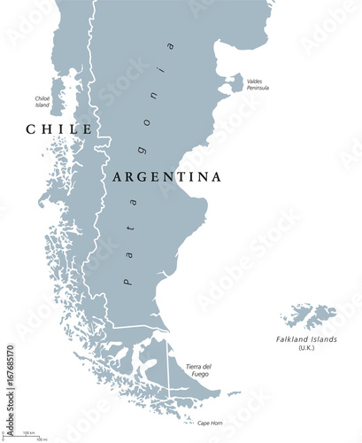 Map Of Uk Overseas Territories.Patagonia Political Map The Southern End Of Continent South America