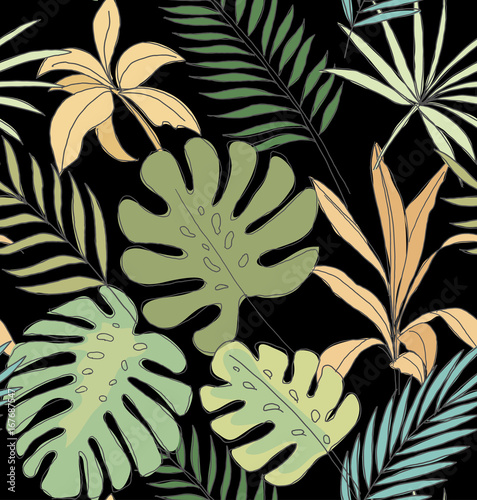 Palm Leaves On A Black Background Tropical Print Seamless Pattern Buy This Stock Vector And Explore Similar Vectors At Adobe Stock Adobe Stock Download transparent tropical leaf png for free on pngkey.com. palm leaves on a black background