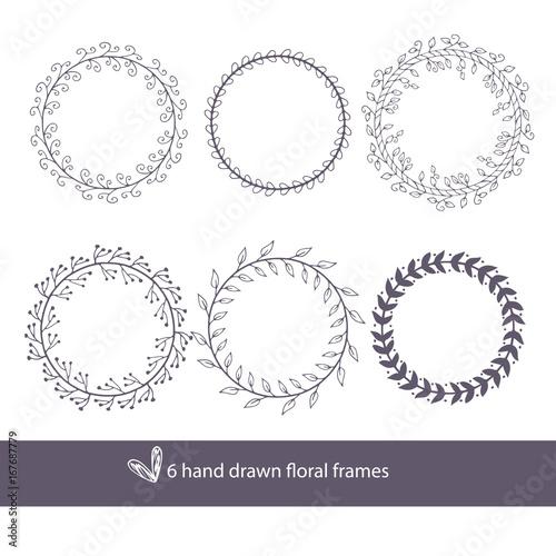 Unique hand drawn round frames - wedding decor elements in boho ...