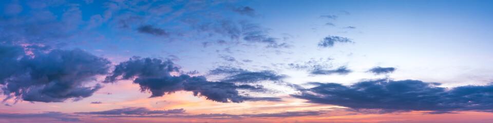 Vibrant panoramic sky on twilight time. Beautiful cloud. Panorama high resolution photograph.