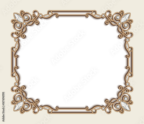 Rectangle Gold Jewelry Frame Vintage Invitation Card Buy