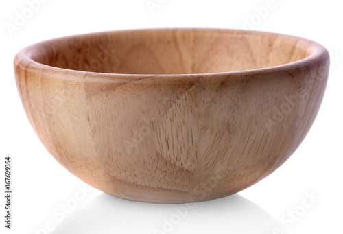 Photo  wooden bowl isolated on white background