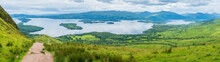 Panoramic Sight From Conic Hill, Balmaha, Village On The Eastern Shore Of Loch Lomond In The Council Area Of Stirling, Scotland.