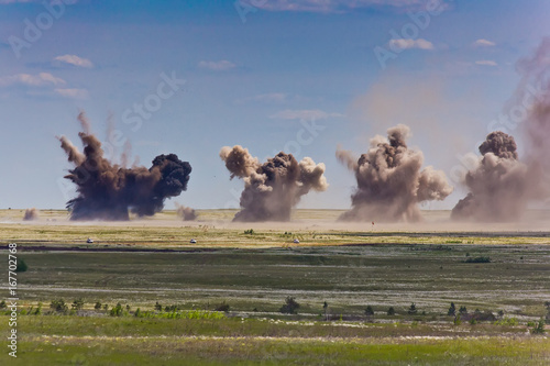 Explosion at a military training ground Canvas Print