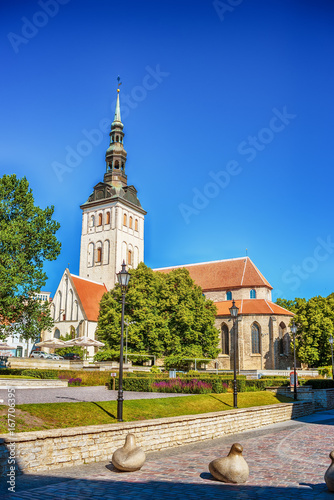 Tallinn, Estonia: the old town in the summer. St. Ofaf's church Poster
