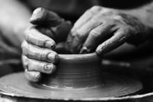 Potter Making Ceramic Pot On T...