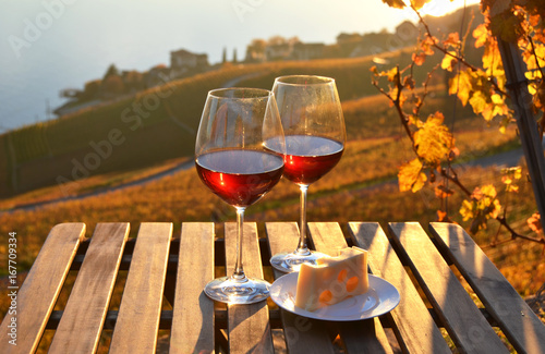 Canvas Prints Vineyard Wine and cheese. Lavaux region at Geneva lake, Switzerland