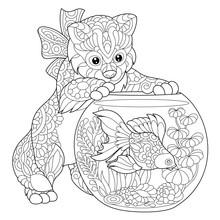Coloring Page Of Kitten Wonder...