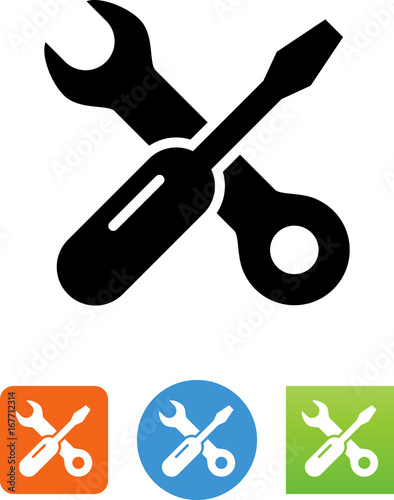 Cuadros en Lienzo Screwdriver And Wrench Icon - Illustration
