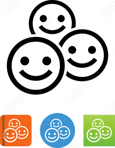Obraz na plátne  Smiling Crowd Icon - Illustration