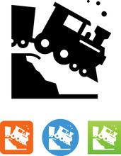 Train Wreck Icon - Illustration