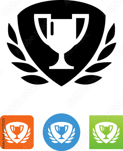 Photo Trophy Cup With Laurel And Shield Icon - Illustration