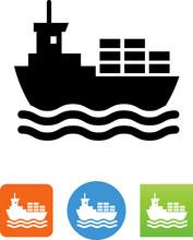 Vector Cargo Ship Icon - Illustration