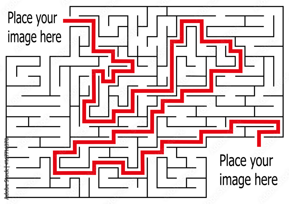 Fototapeta rectangle labyrinth with entry and exit.vector game maze puzzle with solution.Num.06