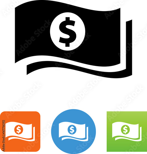 Fotografie, Obraz  Vector Dollar Bills Icon - Illustration