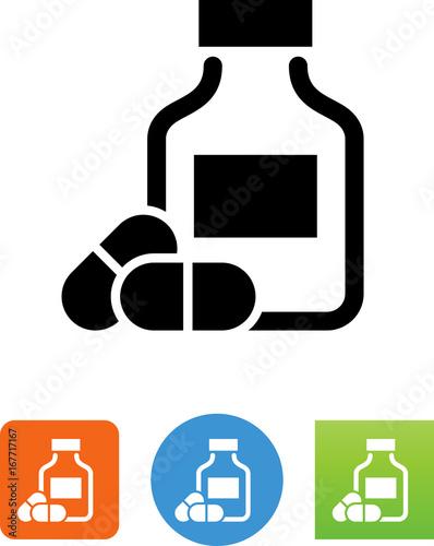 Fotografia  Vector Prescription Bottle With Pills Icon - Illustration