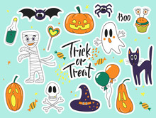 Halloween Fashion Cute Cartoon Doodle Patch Badges With Ghosts, Cat, Spider, Pumpkins And Other Elements.Set Of Stickers, Pins, Patches In Cartoon Comic Style Of 80s-90s. Vector Collection