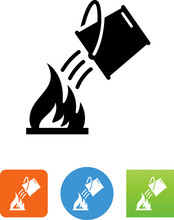 Water Bucket And Fire Icon - I...
