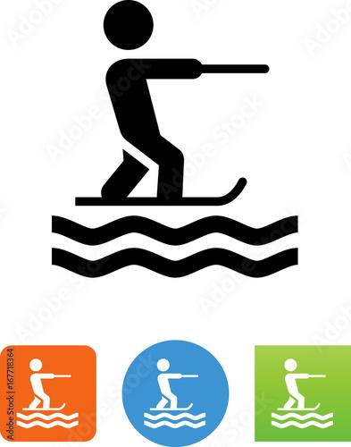 Vászonkép Water Skiing Icon - Illustration